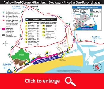 Road closures map for airshow visitors